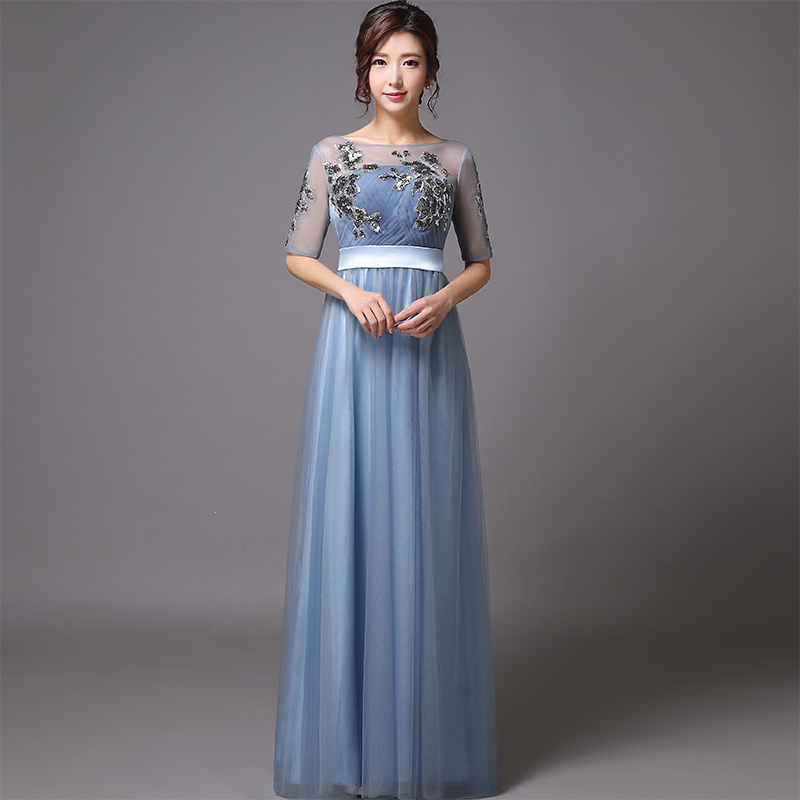 Tulle Elegant O-neck A-line Floor-Length Sequined Appliques Long Evening Dress With Half Sleeves 2015 New(China (Mainland))