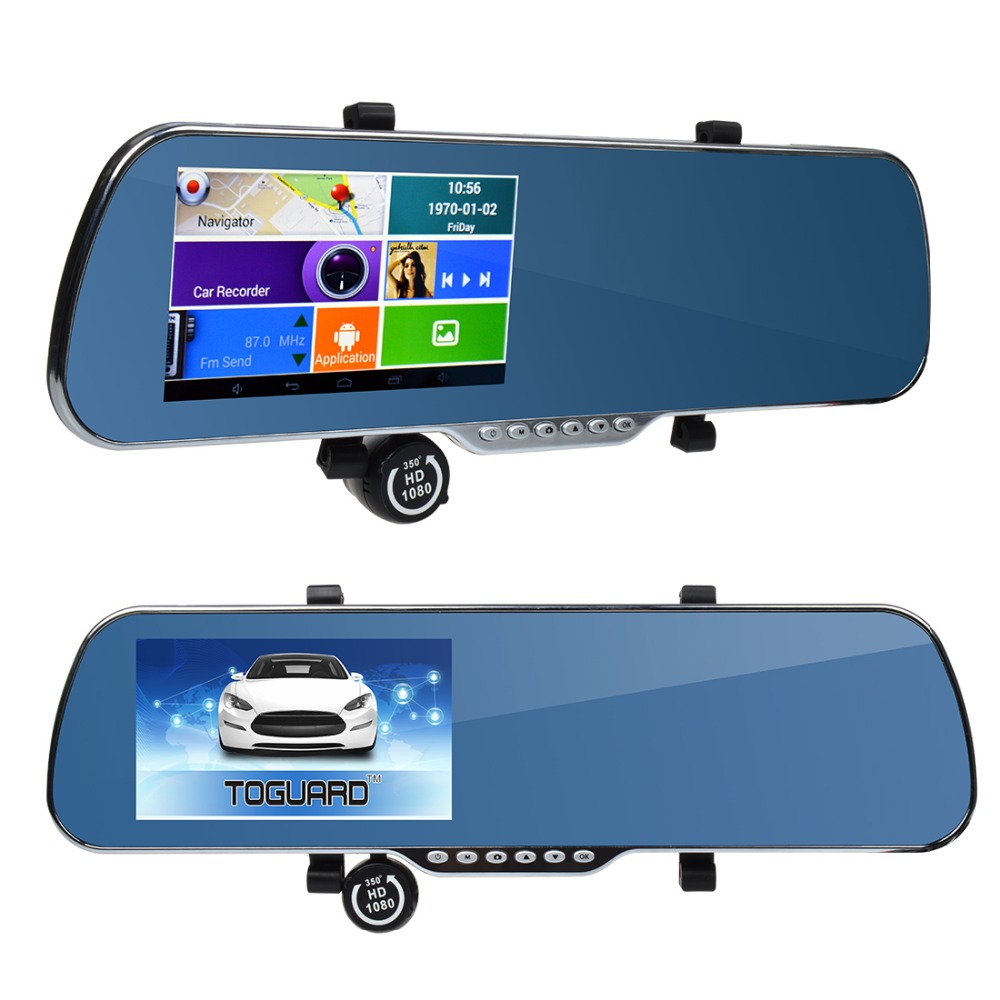 "5"" IPS Touch Screen FHD Android 1G RAM A33 Dual Lens WIFI Car Dvr Video Recorder Rear View Mirror Monitor FM+GPS Navigation+WDR(China (Mainland))"