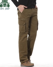AFS JEEP 2015 New Design Real Man's Cargo Pants,100% Cotton Khaki/Army Green Men's Outdoor Trousers,Mans Brand Casual Pant