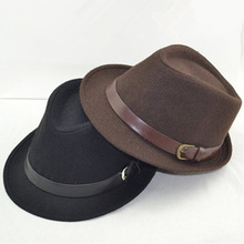 Fashion small fedoras male women's fashion jazz hat summer black woolen cap outdoor casual hat