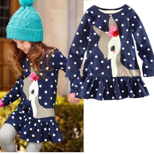 2-7Y новорожденных девочек милый олень с длинным рукавом хлопка горошек началу платье футболка
