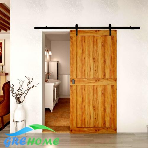 Global free shipping 4.9FT/6FT/6.6FT Black rustic carbon steel interior sliding barn door hardware(China (Mainland))