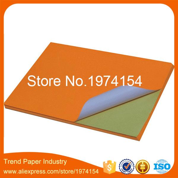 20 Sheets 21*29.7cm Orange color A4 sticker label,woodfree color sticker label A4 for laser inkjet printer(China (Mainland))