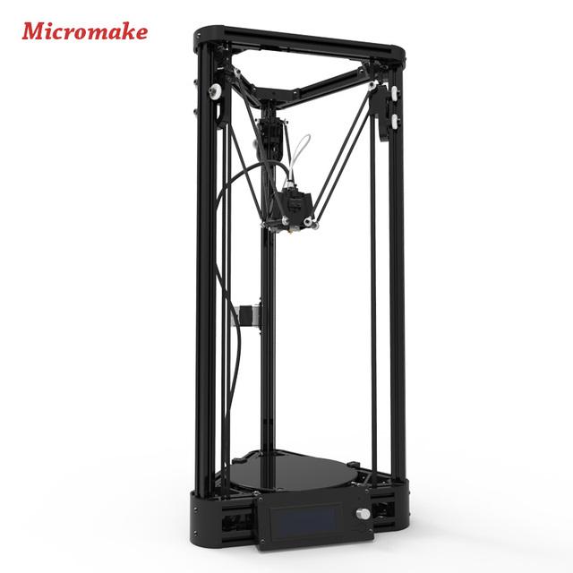 2016 Micromake 3d-принтер Шкив Версия Руководство DIY Kit Коссель Дельта Авто Выравнивания Большой Размер Печати 3d-металл Принтер