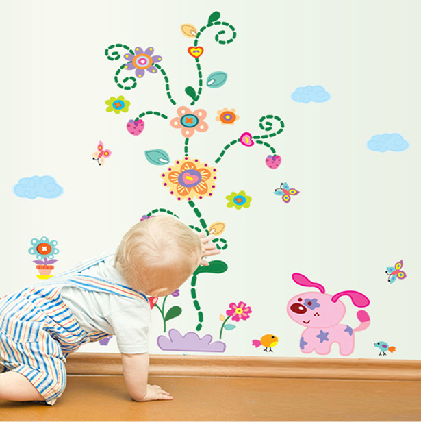 Diy Dog Wall Decor : Kids wall stickers new flowers diy cartoon decals