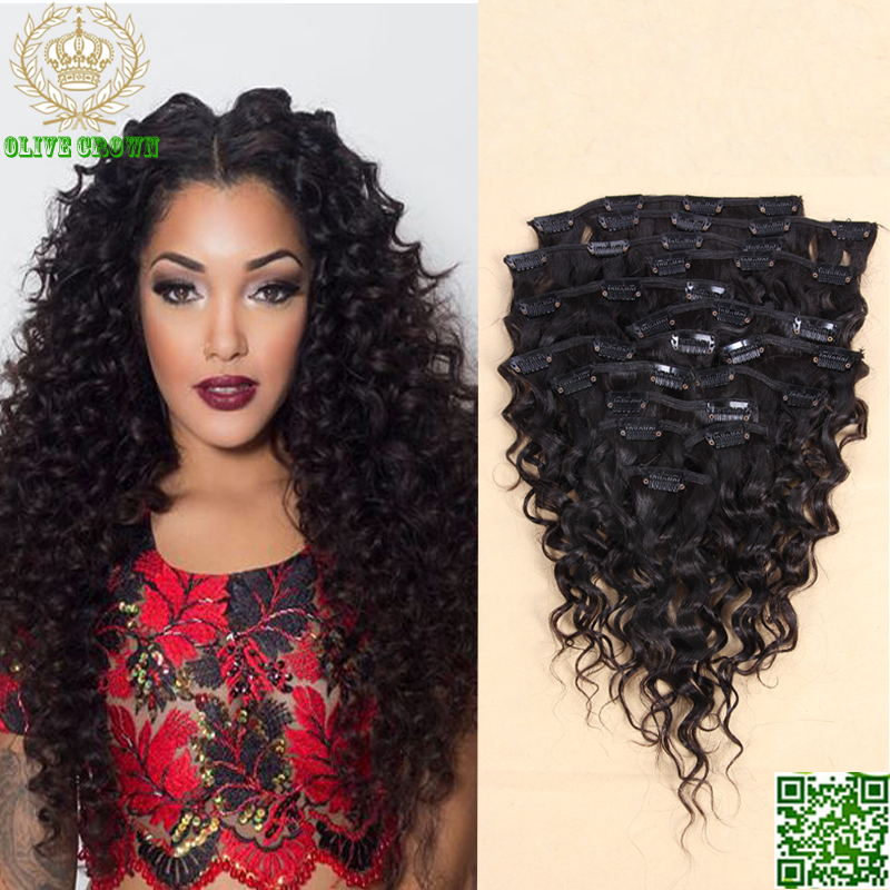 Curly Brazilian Clip In Hair Extensions Human Hair Extensions