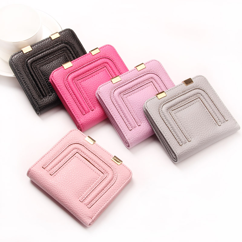 The new 2016 ladies wallet ladies brief paragraph contracted lovely slim buckles womens small wallet(China (Mainland))