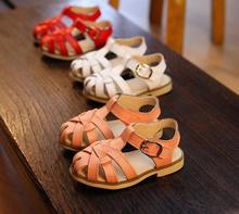 2015 summer princess shoes girls sandals closed toe genuine leather children sandals fashion pretwork kids sandls girls shoes(China (Mainland))