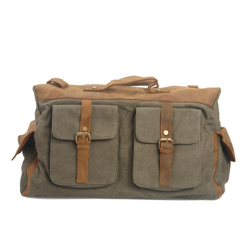 Vintage Men Canvas Travel Bags Genuine Leather luggage Outdoor Sport Tote Crossbody Bolsa Duffle Bags Maletas Sacolas De Viagem(China (Mainland))