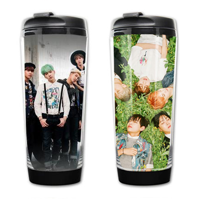 Bangtan Boys cups New kpop star goods BTS with paragraph Starbucks cup readily cup glass surrounding BTS mug free shipping(China (Mainland))