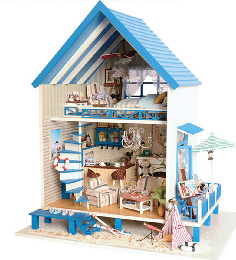 Kits wood dollhouse miniature for Kits for building a house