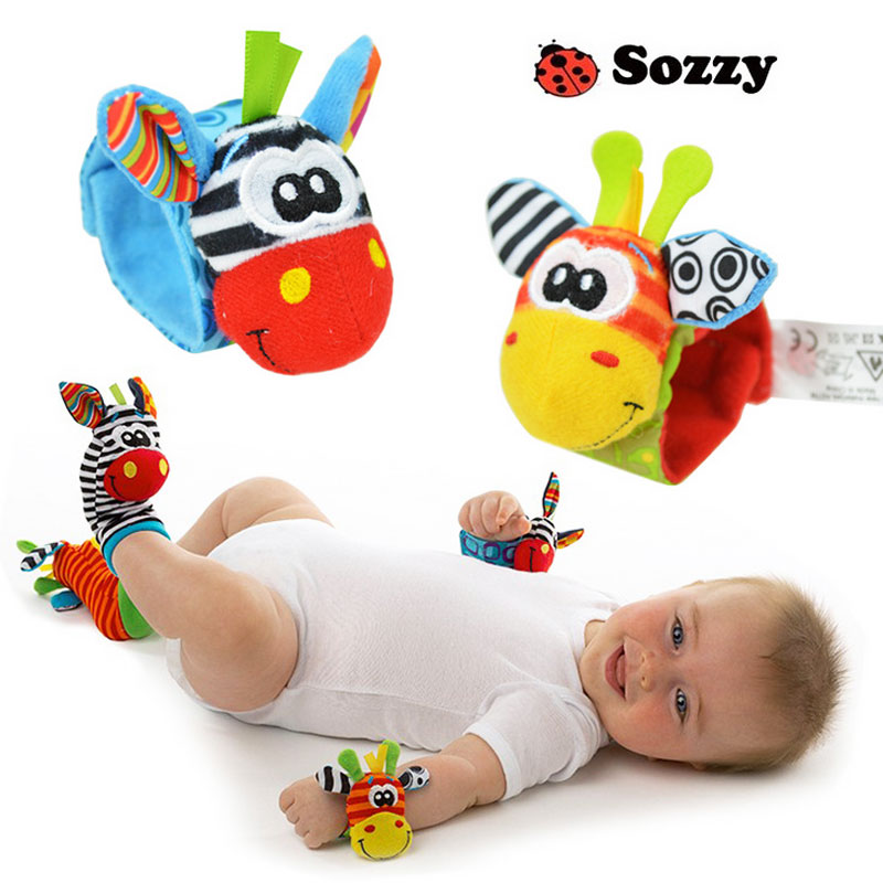 Animal animal baby rattles with a wrist watch with socks with bell bell / newborn baby toys(China (Mainland))