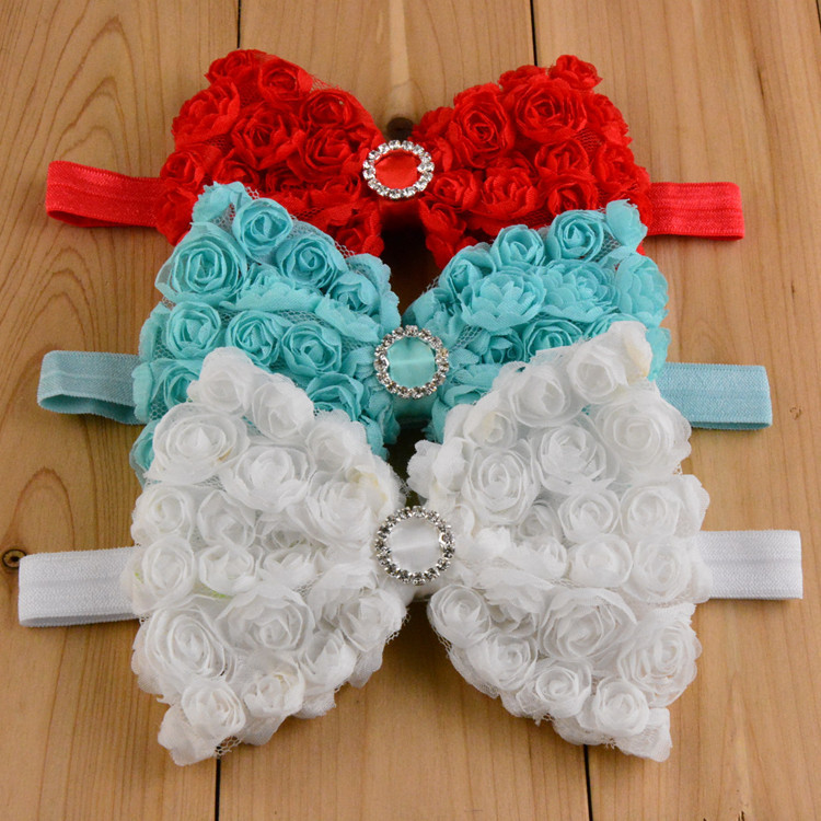 New 10pcs/lot 15colors Baby Girls Chiffon Rose Bowknot Headband with Rhinestone Toddler Infant Headdress Bows Hair Accessories(China (Mainland))