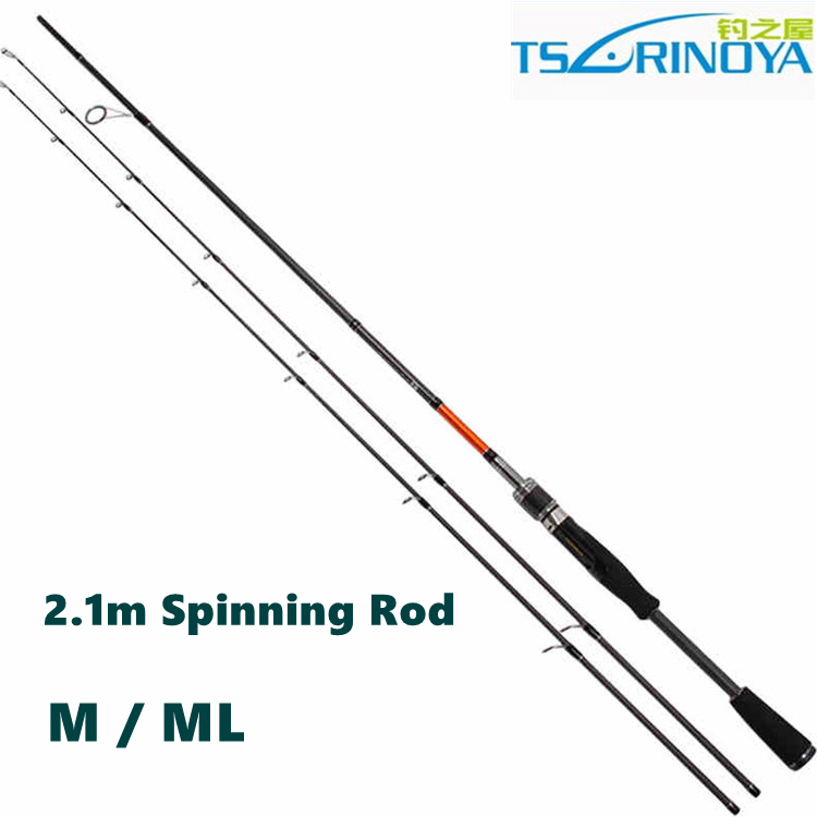 Free Shipping Trulinoya 2.1m M / ML Two Tips Spinning Rods 2 Section Carbon Spinning Rods(China (Mainland))