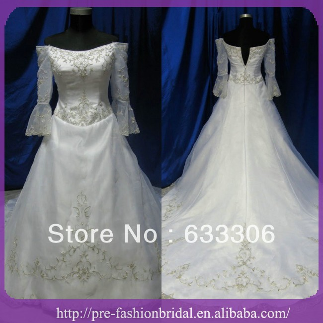LU148 Real Picture Strapless Long Sleeve Sundayfrog Wedding Dress Vestido De Noiva Embroidery Ruched Satain Bridal Gowns 2015 - Cloudup store