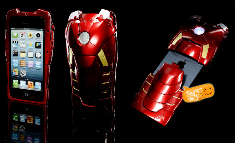 Super Cool 3D Stereo Iron Man Armor Limited Collector's Edition Case Cover With Energy Light For IPhone 5 5S 5G(China (Mainland))