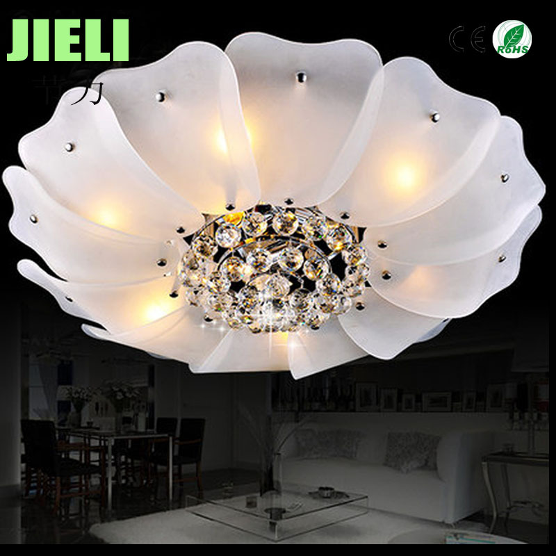 Free Shipping Modern Crystal And Glass D700*H250mm Iron Chromed Ceiling Light <br><br>Aliexpress
