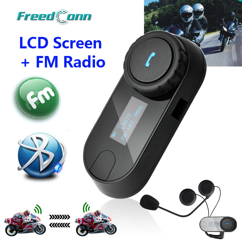 2015 новое обновление версии! 2 шт. BT Bluetooth мотоциклетный шлем интерком-гарнитура домофонных гарнитура с жк-экраном + FM радио