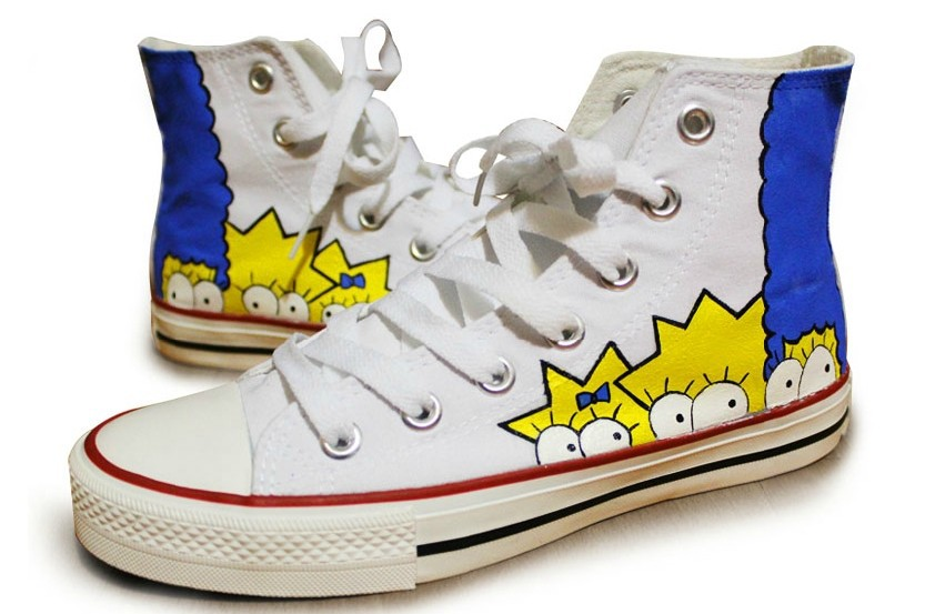 Free shipping  2014 New  The new Simpson a cartoon hand-painted shoes for men and women casual canvas shoes for the high frenum