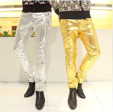 Mens Skinny Faux PU Leather Pants Shiny Silver Black and Gold Pant Trousers Nightclub Stage Costumes for Singers Dancer Male 3XL(China (Mainland))