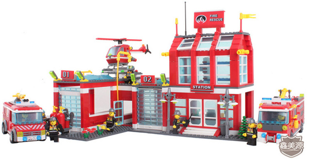Without original box fire rescue station enlighten 911 980pcs building blocks sets Children X'mas birthday gift Free Shipping