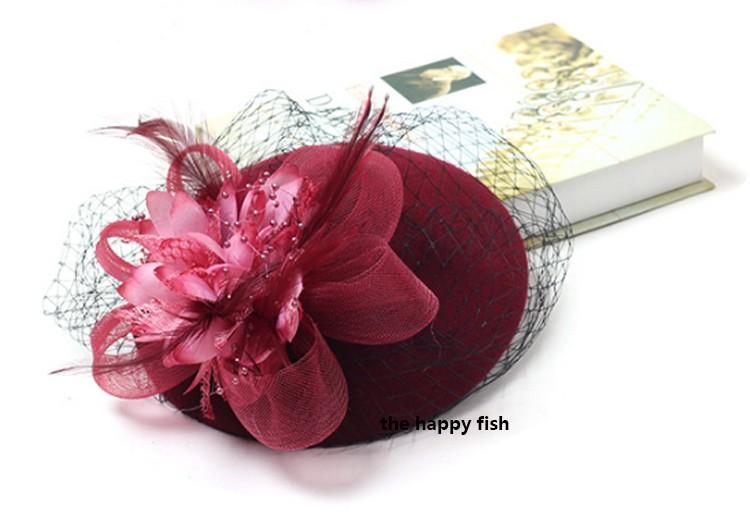 Charming Wool Black Simplicity Women Lady Classic Fascinator Hair Pillbox Hat Floral Felt Cocktail Party Wedding Church Fedora (5)