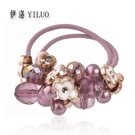 Crystal Glass Cutting Acrylic Beads Flower Elastic Hair Band Fashion Ponytail Holder(China (Mainland))