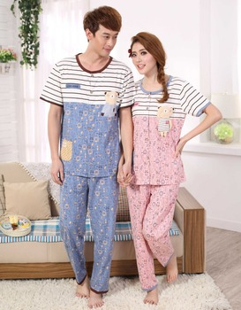 Free Shipping Promotion High Quality Men And Women Sleepwear Full Cotton Lovers Pajamas Nightgown Elegant Noble Homedress