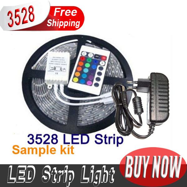 10set RGB 3528 5M 300led 5m/set Waterproof Flexible LED Strip Lamp Light+24 keyIR Control + 2A Power Supply high quality(China (Mainland))