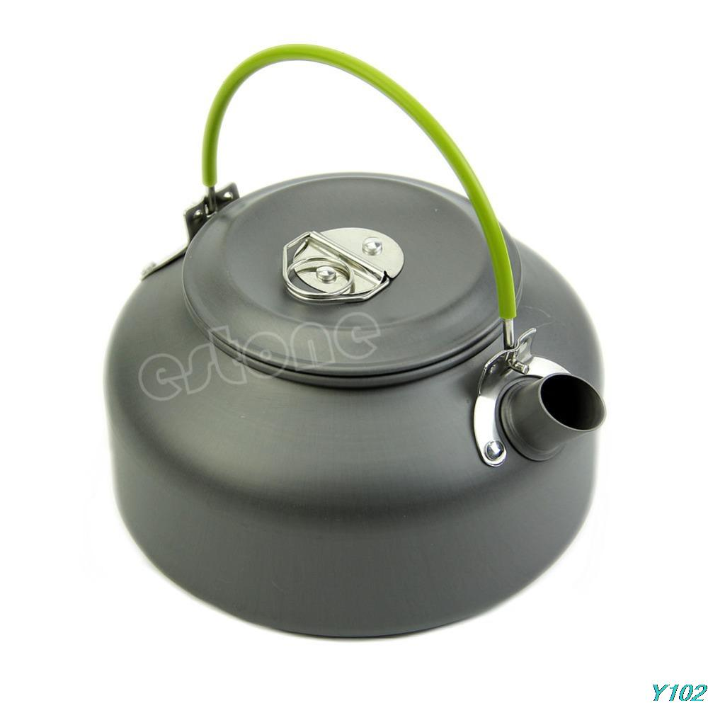0.8L Ultra-light Camping Survival Water Kettle Teapot Pot Aluminum With Mesh Bag +Free shipping-Y102(China (Mainland))