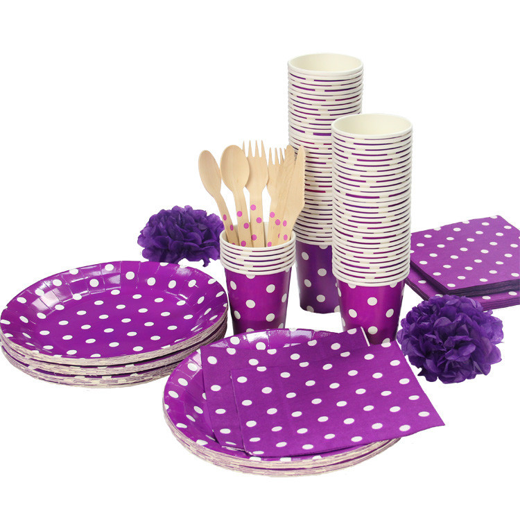 Purple &White Polka Dots Party Tableware tablecover Birthday Party Table Cove plate cups napkins paper straw Cutlery Set(China (Mainland))