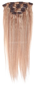 "16""-26"" 70g #18/613 mixed Full Head Remy Clip in Human hair extension 7pcs/set"