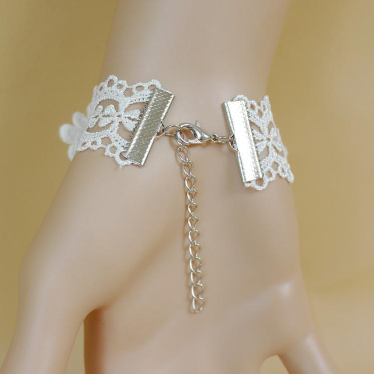 2015 новый дизайн моды бренда Бижутерия готическая белый Роуз браслеты & браслеты для женщин старинные водослива запястье Кружева Браслеты набора