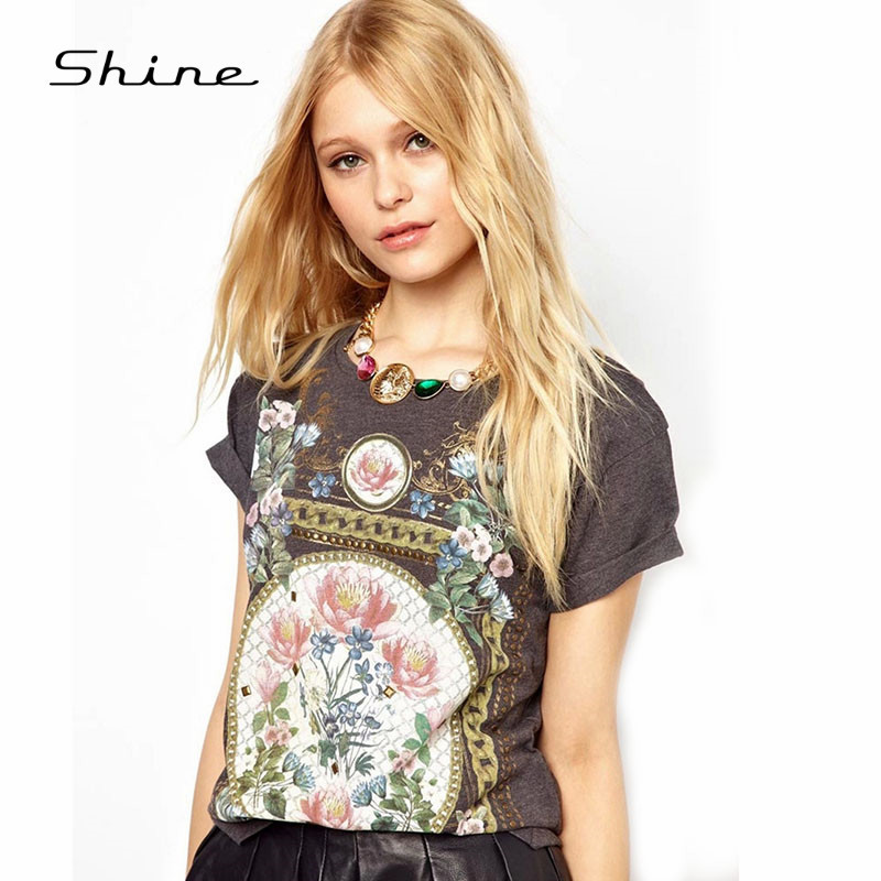 Round neck flower printing tee shirt for women 2015 for Round neck t shirts for ladies
