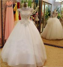 2016 New Luxury Wedding Dresses With High Neck Swarovski Crystals Beading Ball Gown Floor Length Tulle Hot Customed(China (Mainland))