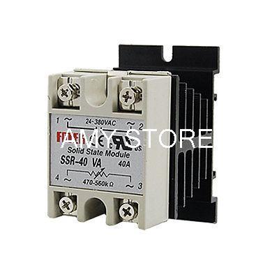 Solid State Relay SSR Voltage Resistance Regulator 40A 24-380V AC + Heat Sink