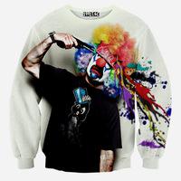 가을/ 겨울 새로운 티 남자 셔츠 패션 3D 특이 총 sudaderas 광대 인쇄