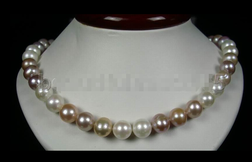 FREE SHIPPING beautiful 10-11mm mixed-color pearl necklace 14kt clasp jewelry (A0322)<br><br>Aliexpress