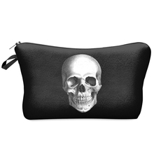 Multi-Colors Clutch Storage Women Cosmetic Cases 3D Print Fashion Skull Black Lady Travel Handbag Makeup Bag H42