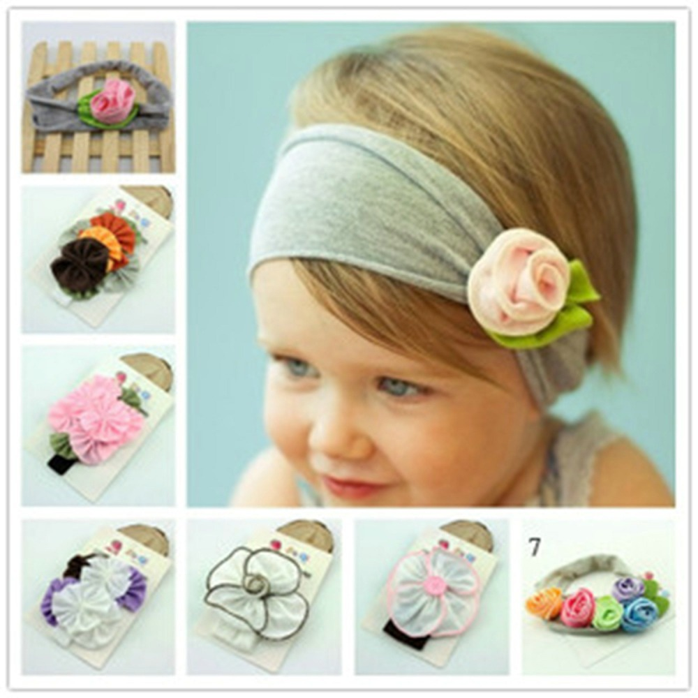 2015 New Popular Style 6 Colors Cotton Stretch Baby Headband Flower Hair Bands Bay Girl Hair Accessories A026(China (Mainland))