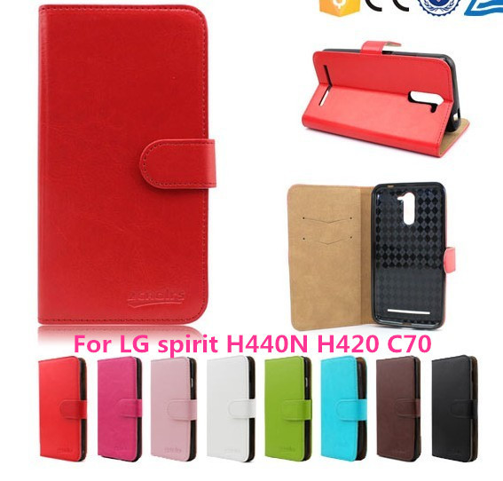 Hot Sale Fashion Luxury Flip Wallet Phone Leather Case Cover For LG spirit H440N H420 C70 Slots 1Pcs/8 Color 1pcs Free+Usb+Dust(China (Mainland))