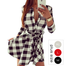 Vintage White Black Plaid Print Shirt Dress Women 2016 Sexy 3/4 Sleeve Winter Dresses Office Plus Size Work Wear 10635(China (Mainland))