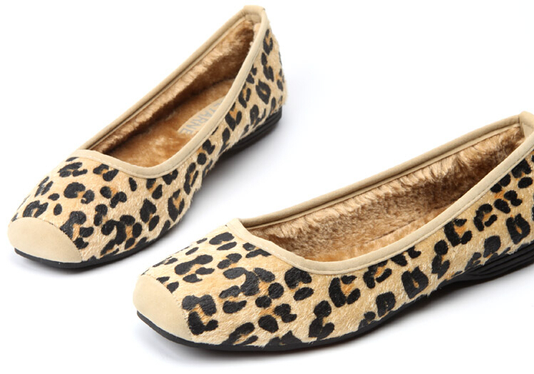 2015 Shoes Women Casual Leopard Ballet Flats Slip On Female Winter Shoes Sapatos Femininos Plus Size35-41(China (Mainland))