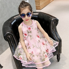 3-13 years old Girls' Dress 2016 Summer New children clothing Organza flowers vest dress Princess Tutu dresses Children's Dress