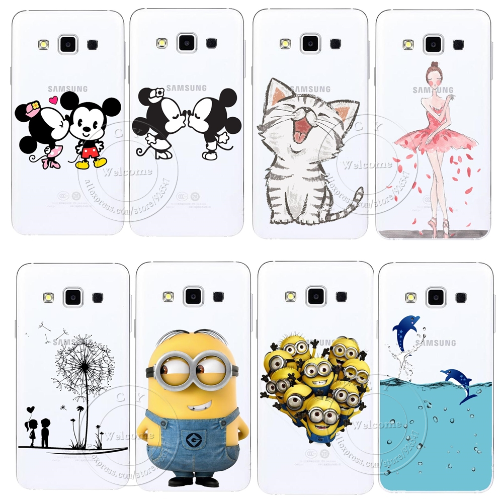Minions Cat Mickey & Minnie Kiss Hard Case Cover For Samsung Galaxy S3 S4 S5 Mini S6 S7 Edge Note 2 3 4 5 A3 A5 A7 A8 J1 J5 J7(China (Mainland))