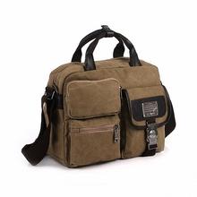Multifunction Canvas men messenger bag fashion new leather shoulder bag vintage high quality Satchel School Military bag LI-913