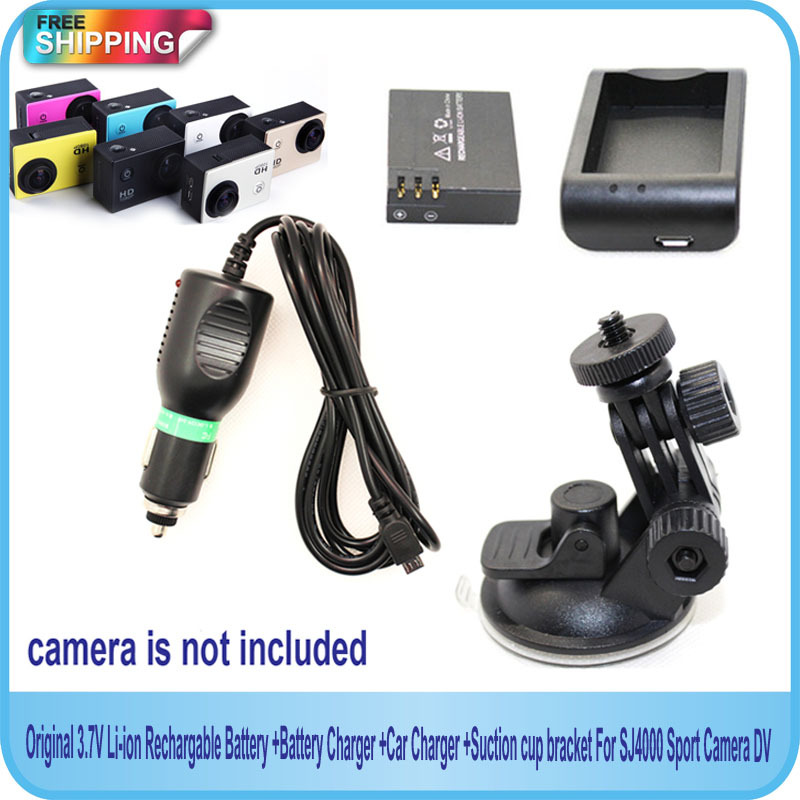 Free Shipping!! Original 3.7V Li-ion Battery +Battery Charger +Car Charger +Suction cup bracket For SJ4000 Sport Camera DV(China (Mainland))