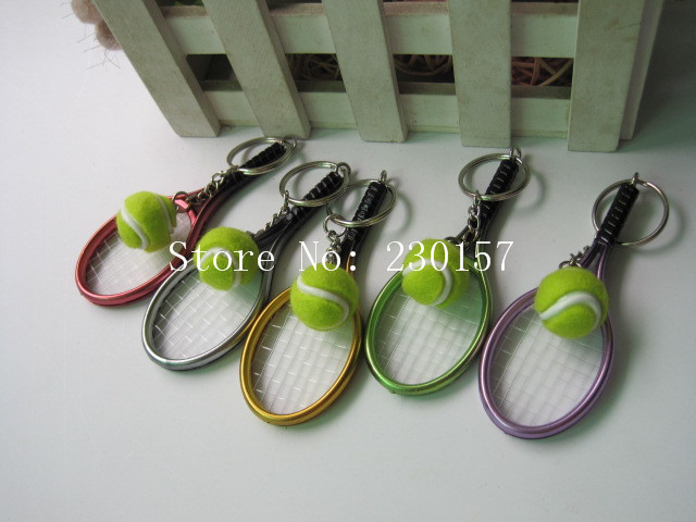 DHL Freeshipping 200pcs 6 color pendant tennis rackets keychain with ball fashion accessories souvenir gift(China (Mainland))