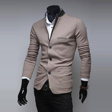 Hot! New 2014 High Quality PU Leather Collar Designs Cheap Mens Sweater Slim Fit Casual Cardigan Men Sweaters Mens Jumpers M-XXL(China (Mainland))
