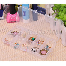 Plastic 10 Slots Adjustable Jewelry Storage Box Case Craft Organizer Beads Rings Earrings Necklace Bead Finger Ring Container(China (Mainland))